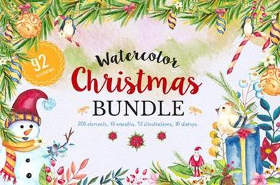 CreativeMarket - Mega Watercolor Christmas Bundle